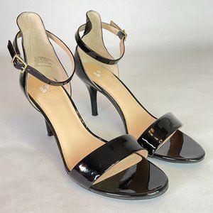 BP Nordstrom Black Patent Ankle Strap Heels NWOT